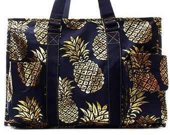 550eecf97088 Embroidered Navy with Gold Pineapple Utility Tote-Embroidered Utility Tote- Monogram Utility Tote-Personalized Tote-Monogram Carry All Bag