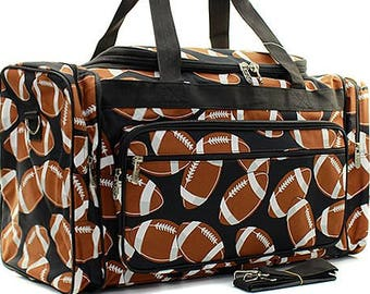 6e55ce75df Monogrammed Large Black Football Print Duffel -Personalized  Gift-Embroidered Duffle-Personalized Weekend Bag-Embroidered Weekend Bag