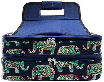 Embroidered Monogram Elephant Print Casserole Carrier-Personalized Casserole Carrier-Monogram Wedding Gift-Embroidered Casserole Carrier