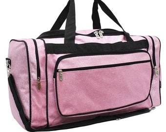 Embroidered Pink Glitter Duffle-Monogram Duffel-Personalized Overnight Bag-Embroidered  Duffel-Monogrammed Duffle db92b1dae109c