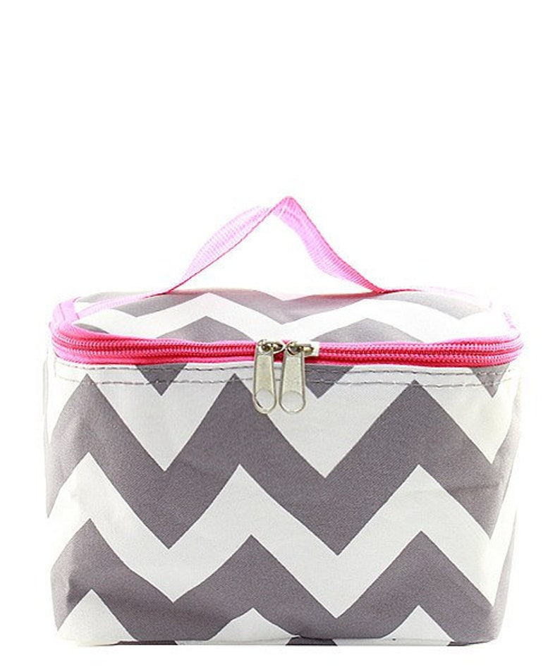 19e9a865b678 Monogrammed Gray Chevron with Pink Trim Cosmetic Bag