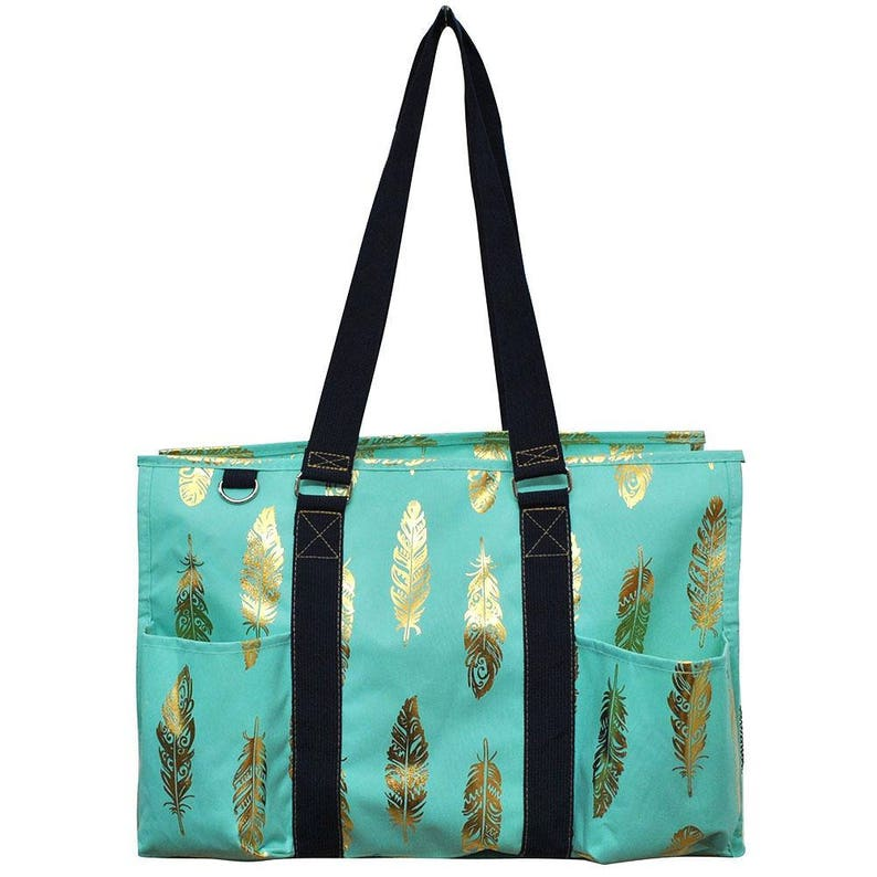 Embroidered Mint With Gold Feather Small Utility Tote-Monogram Utility Tote-Personalized Utility Tote-Embroidered Carry All Bag