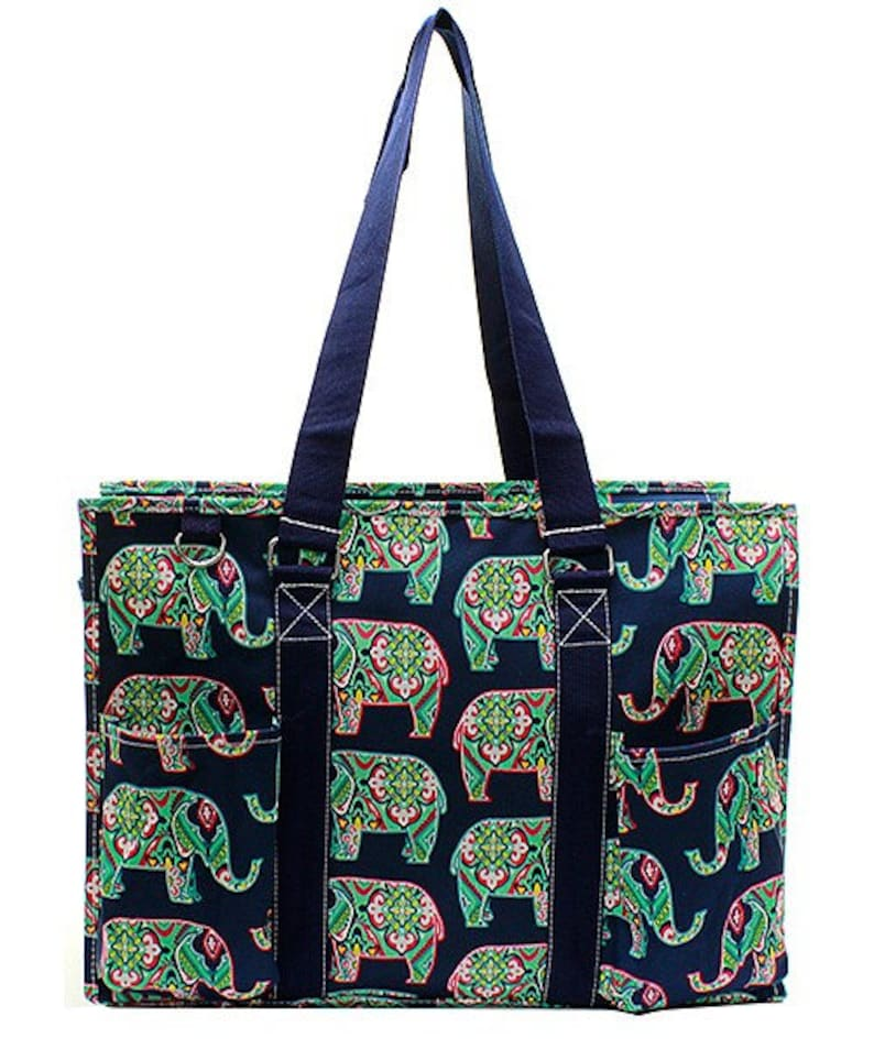 Embroidered Elephant Small Utility Tote-Monogram Utility Tote-Personalized Utility Tote-Embroidered Carry All Bag