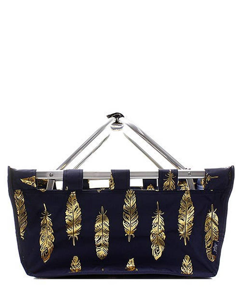 Embroidered Navy With Gold Feather Market Tote-Monogram Market Tote-Monogram Basket-Personalized Monogram Tote-Monogram Diaper Tote