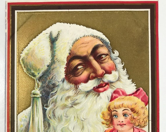 Antique Christmas Postcard - Santa Claus in White Holding a Doll - Vintage Holiday Post Card - Series 213 A - Gold Embossed