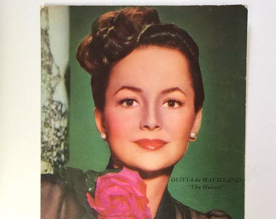 Vintage Movie Star Postcard - Olivia de Haviland - Movie Candid Color Card - Whitey Schafer