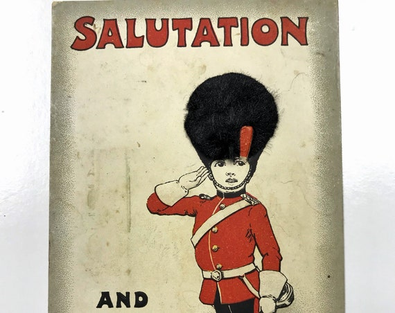 Antique Novelty Greeting Card of a Grenadier Guard - Queen's Guard - Saluting and Greeting You!