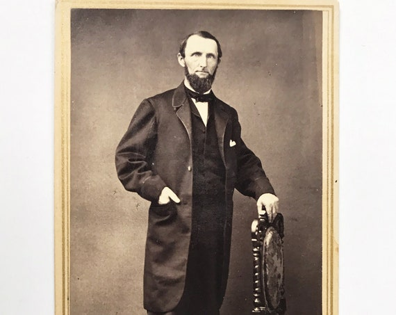 Antique Carte de Visite CDV Photograph of Victorian Man with Whiskers, New York