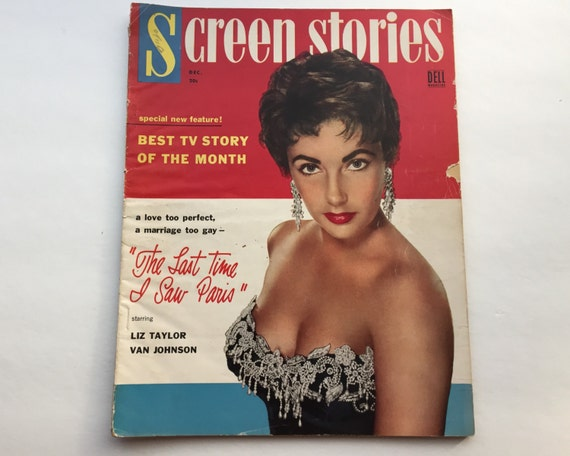 Screen Stories Magazine December 1954 - Cover Elizabeth Taylor - Vintage Movie Magazine - Inside Frank Sinatra & Kim Novak