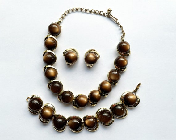 Vintage Late Mid Century Costume Jewelry Trio - Faux Tiger's Eye and Gold Tone Choker Necklace, Bracelet & Clip On Earrings