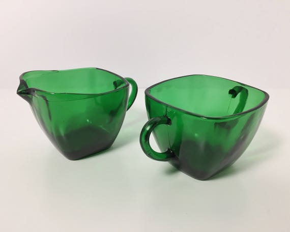Vintage Anchor Hocking Forest Green Charm Pattern Creamer and Sugar - Mid Century Vintage Kitchen - Fire King Green Glass