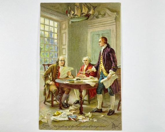 """Dr. Jayne's Family Medicine Edwardian Trade Card """"The Drafting of the Declaration of Independence"""""""