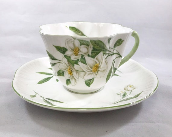 Vintage Shelley Syringa Teacup and Saucer - Beautiful Mock Orange Flowers on White Bone China