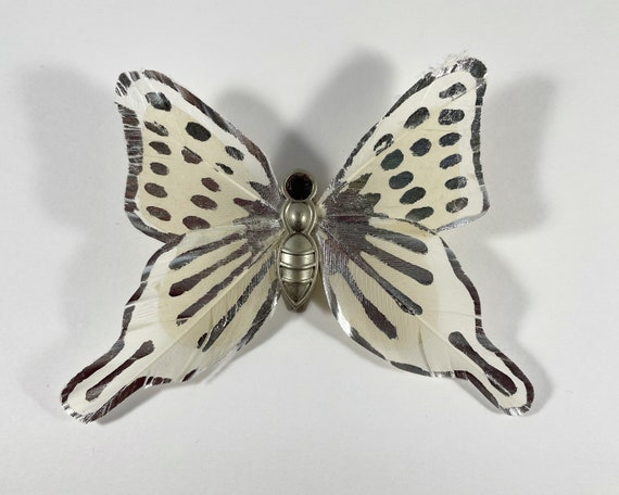 Vintage Judith Lieber Butterfly Clip Fashion Accessory - Silver and White Feather