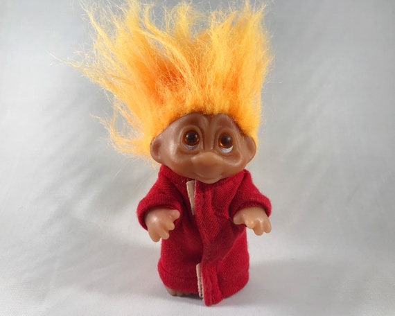 Vintage Dam (Norfin) Troll Doll - Orange Hair and Love & Kisses Sweatshirt