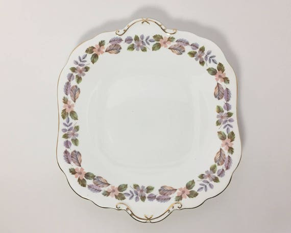 Vintage Aynsley English Fine Bone China Square Handled Sandwich Plate - April Rose - Lovely Mid Century Pastel Floral Pattern