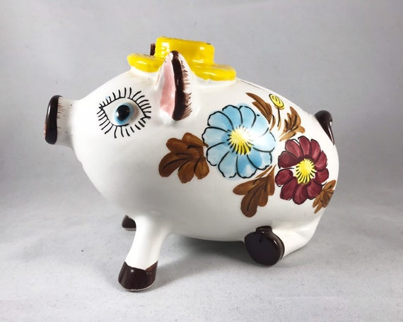 Piggy Bank with Hat -  Made in Japan - Vintage Mid Century Kitsch