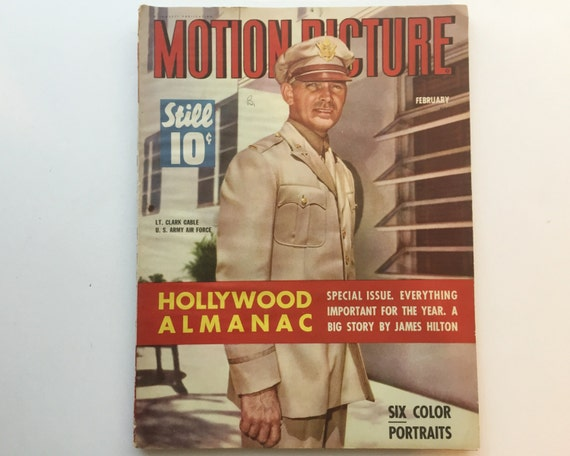 Motion Picture Magazine February 1943 - Cover Clark Gable - Vintage Movie Magazine - Wartime Issue - Gable in the Military!