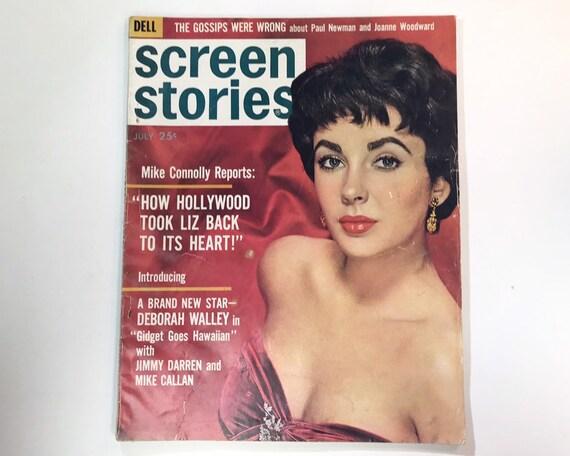Screen Stories Magazine July 1961 - Cover Elizabeth Taylor - Vintage Movie Magazine - Inside Gidget, Paul Newman, Joanne Woodward