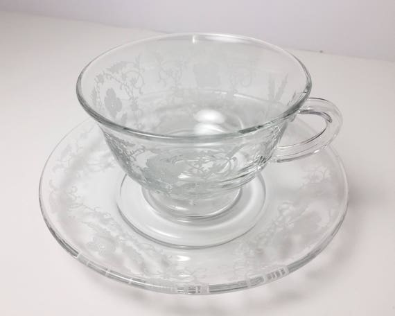 Vintage Fostoria Shirley Etch on Fairfax Shape Teacup and Saucer in Crystal