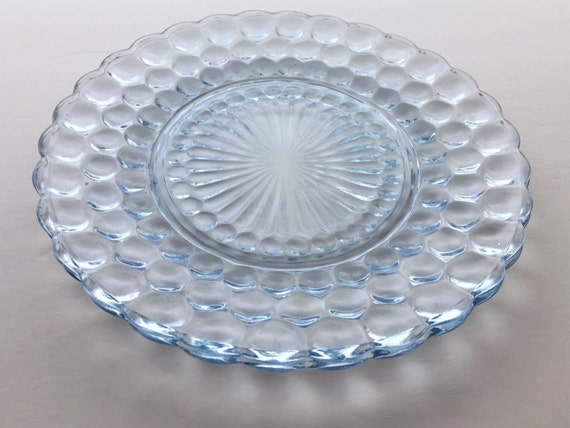 Vintage Dinner Plates - Ice Blue Glass - Anchor Hocking Bubble Glass Pattern