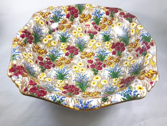 Vintage Royal Winton Grimades Marguerite Chintz Large Square Fruit Bowl