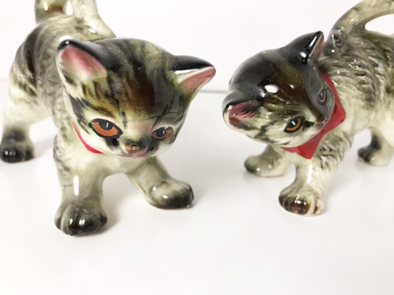 Pair of Vintage Ceramic Tabby Cats with Red Bows - Kittens