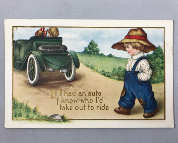 Romantic Comic Embossed Antique Post Card - Little Boy in Overalls with Vintage Automobile
