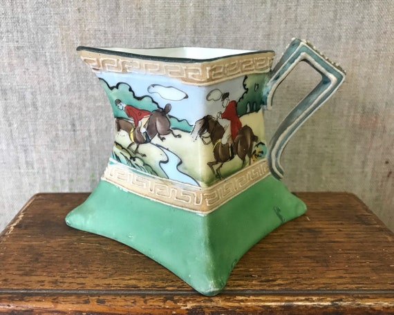 Antique Hand Painted Nippon Creamer with Moriage Decoration - English Fox Hunting Scene