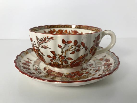 Vintage Copeland Spode Indian Tree Tea Cup and Saucer - Orange Rust with Gold and Scallop Rim - Old Mark