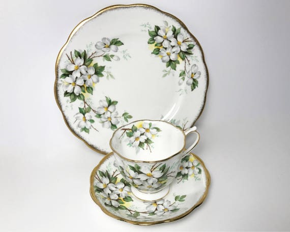 Vintage Royal Albert Teacup, Saucer, and Plate Trio - Lovely White Dogwood - Brushed Gold Rim - Countess Shape Cup
