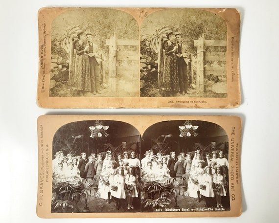 B. W. Kilburn & Universal Photo Art Stereoviews - Children's Wedding and Victorian Courting Couple