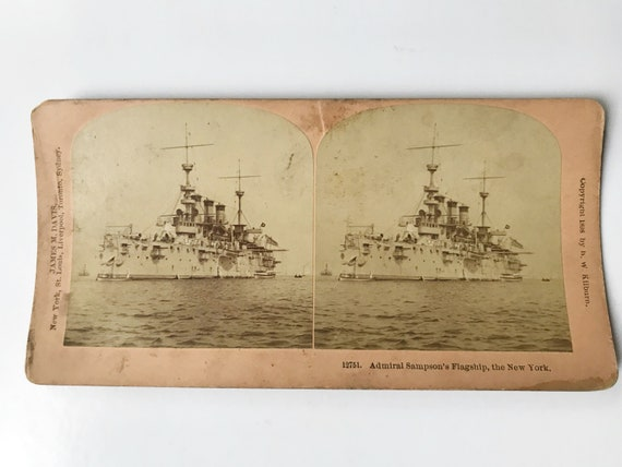 Antique B. W. Kilburn Sepia Stereoview - USS New York (ACR-2) Spanish-American War - Admiral Sampson's Flagship