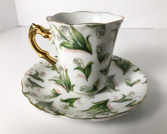 "Lovely Vintage Chintz Lily of the Valley Demitasse and Saucer - Made in Japan - ""May"" - Gold Trim and Handle - Espresso Cup"