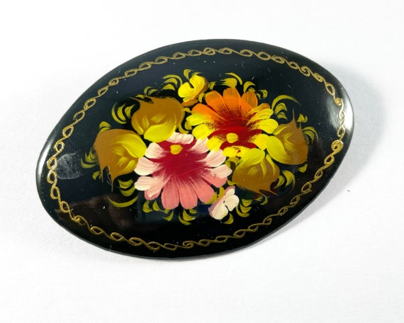 Traditional Hand Painted Russian Lacquer Floral Brooch