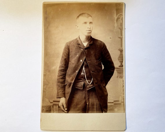 Antique Cabinet Card of Portrait of Young Man in T-Shirt c. 1885