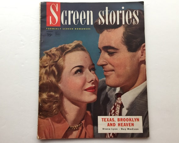 Screen Stories Magazine August 1948 - Cover Diana Lynn and Guy Madison - Vintage Movie Magazine - Inside Ann Blyth & Fred Astaire