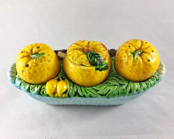 Vintage Novelty Made in Occupied Japan Condiment Set - Oranges in a Basket