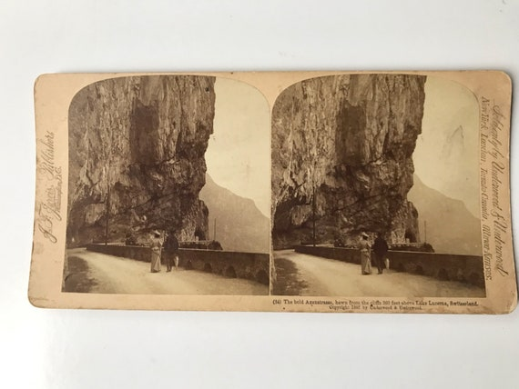 Antique Stereoview of Axenstrasse, Lake Lucerne, Switzerland, J. F. Jarvis, Publishers, Copyright 1897