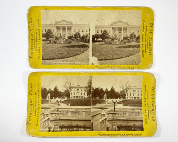 Antique Stereoview Cards - Two Views of the White House