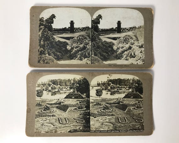Antique Universal Photo Art Company Grey Mount Stereoviews - Set of 2 - Niagra Falls in Winter & Dayton, Ohio - Stereo Cards - C. H. Graves