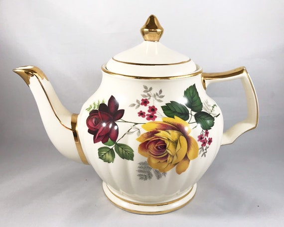 Vintage James Sadler Teapot with Yellow and Red Roses - English Tea