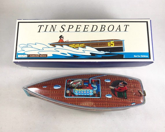 "Vintage Schylling Tin Speedboat ""Thunderbolt"" Collector Series 1996 - Reproduction of a 20s Wind Up Toy"