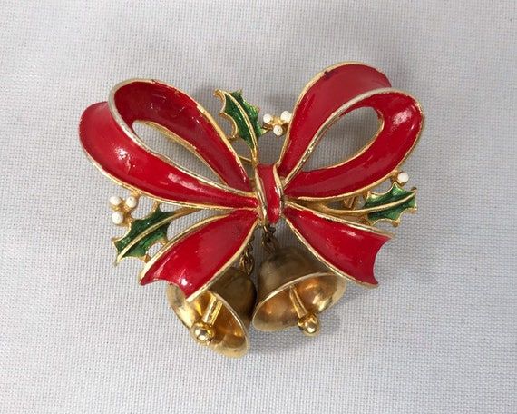 Vintage Signed JJ (Jonette) Jewelry Christmas Bow with Bells Brooch