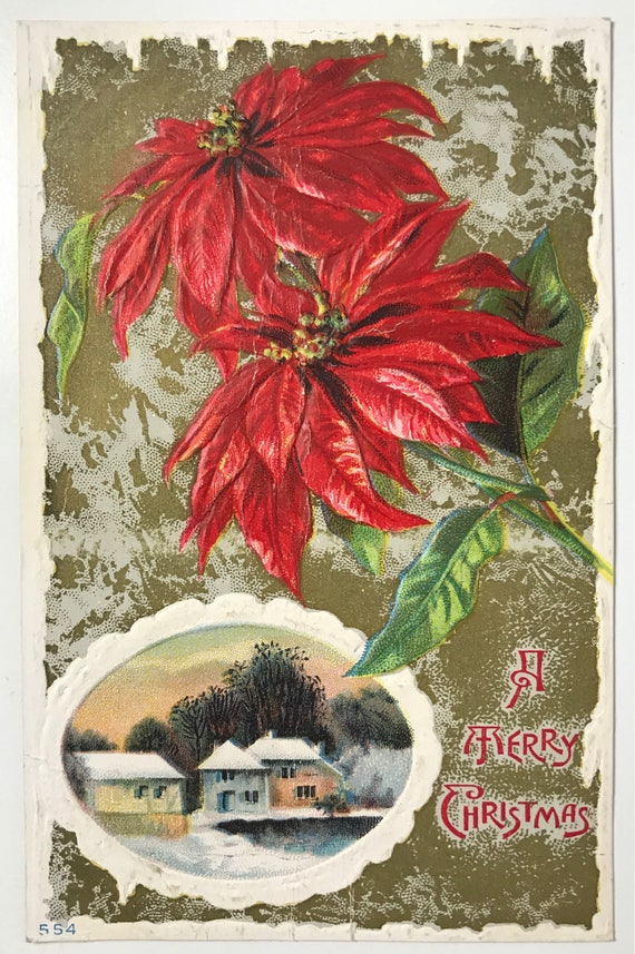 Antique Holiday Postcard - Merry Christmas - Embossed Poinsettia with Gold - Unused - Divided Back