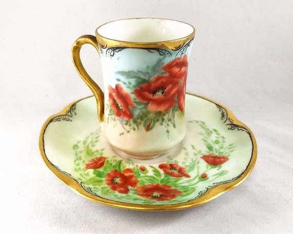 "Antique Art Nouveau Jaeger & Co Bavaria Demitasse and Saucer ""Louise"" Hand Painted with Red Poppies"
