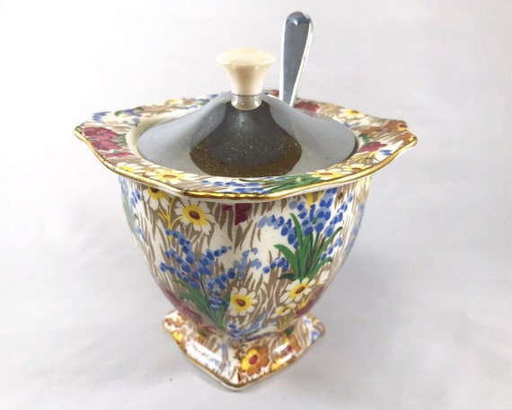 Vintage Royal Winton Grimades Marguerite Chintz Jelly or Jam Pot with Metal Lid and Spoon