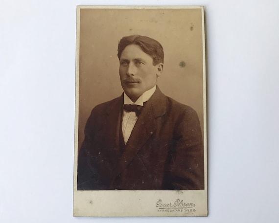Antique Carte de Visite Swedish CDV Photograph of Victorian Man from Kyrkogatan (Göteborg), Sweden