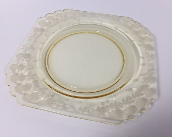 Fostoria New Garland Etch Luncheon Plate Topaz Elegant Glass - Mayfair Pattern - Yellow Floral Etched Glass