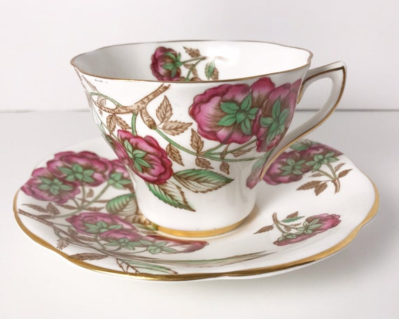 Vintage Rosina English Bone China Teacup and Saucer - Red Roses